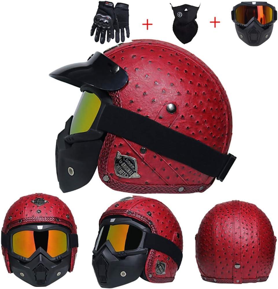 Cuir Harley Moto Casque Anti Brouillard UV Protection Full Face Casques de Moto avec lentille Moto Motorcross Caps pour la Course en Plein air v/élo VTT