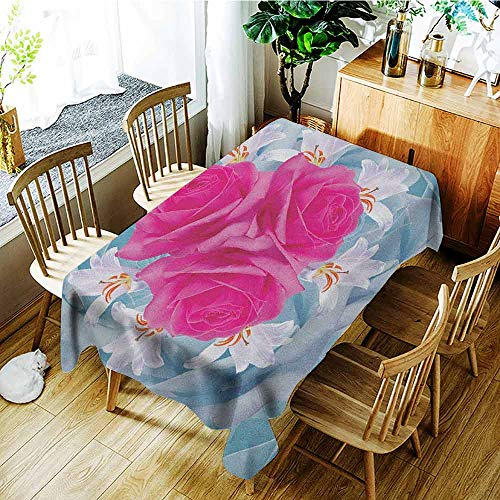 XXANS Tablecloth for Kids/Childrens,Rose,Graphic of Roses and Lilies with Soft Pastel Colors Nature Blooms Springtime Theme,High-end Durable Creative Home,W54x72L Fuscia -
