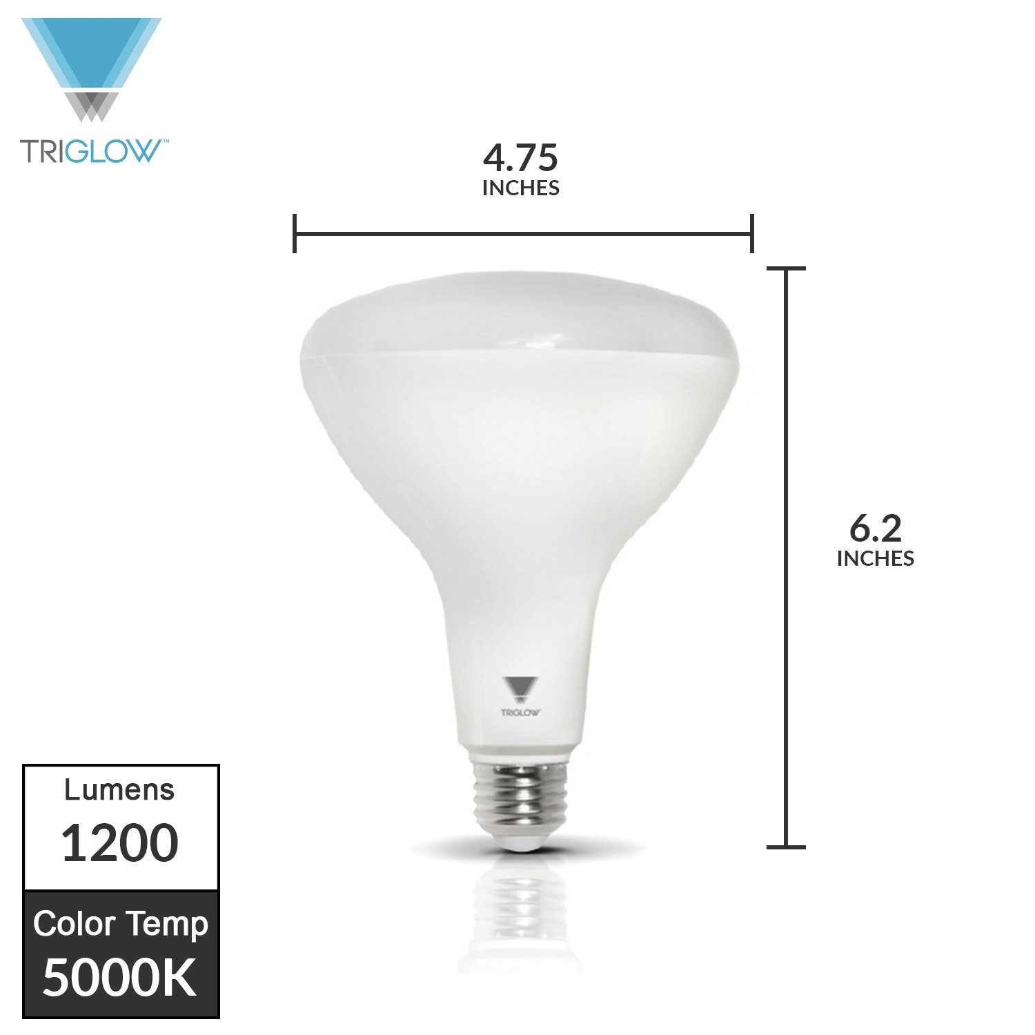 Office Flood Light Dimmable 1200 Lumens Indoor//Outdoor 25000 Hrs UL Listed Use in Home TriGlow BR40 LED Light Bulb 15 Watt 100 Equivalent Soft White , 6-Pack 3000K