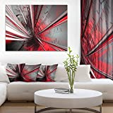 Designart PT9201 40 30 Fractal 3D Deep into Middle Abstract Art Canvas Print, 40'' x 30'', Red