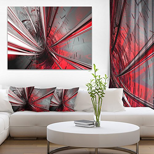 Designart PT9201 40 30 Fractal 3D Deep into Middle Abstract Art Canvas Print, 40'' x 30'', Red by Design Art