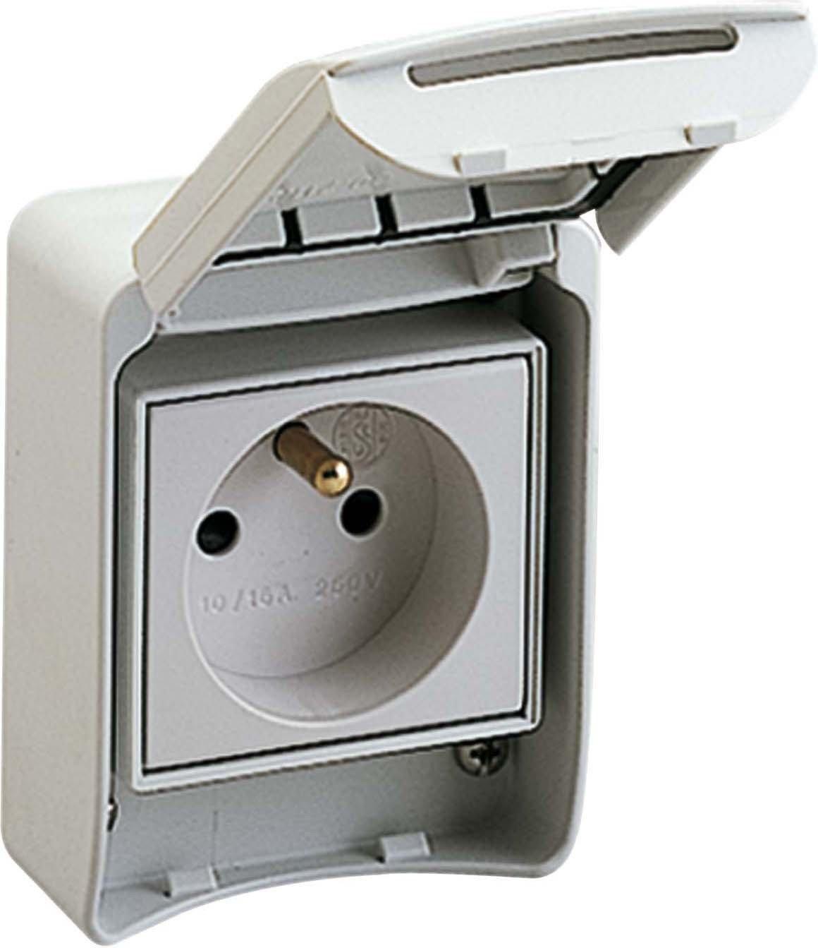 81140 Schneider Electric Socket PratiKa, 2P+T Pô les, 10/16 A, 250V, Gris 2P+T Pôles