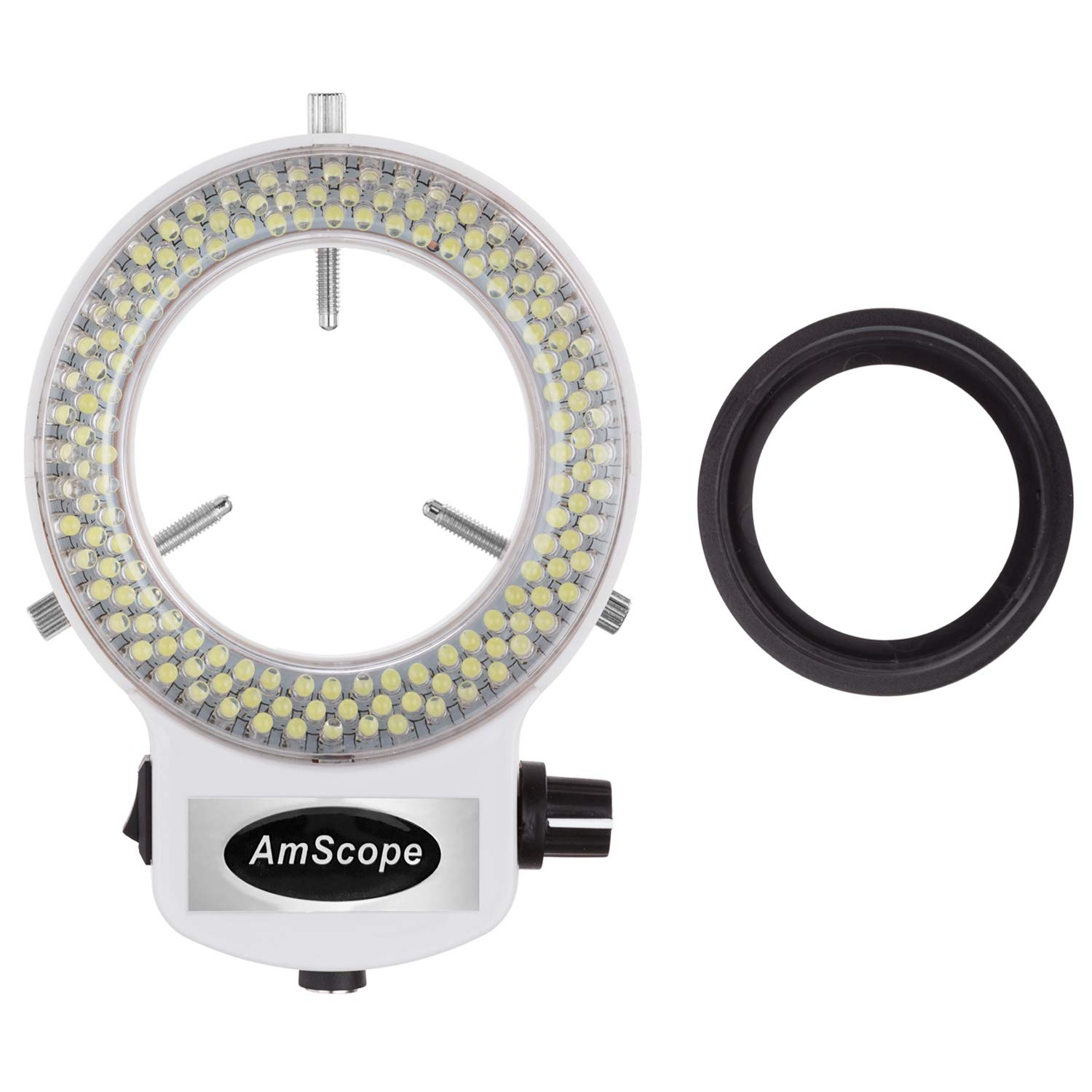 AmScope LED-144W-ZK White Adjustable 144 LED Ring Light Illuminator for Stereo Microscope & Camera by AmScope