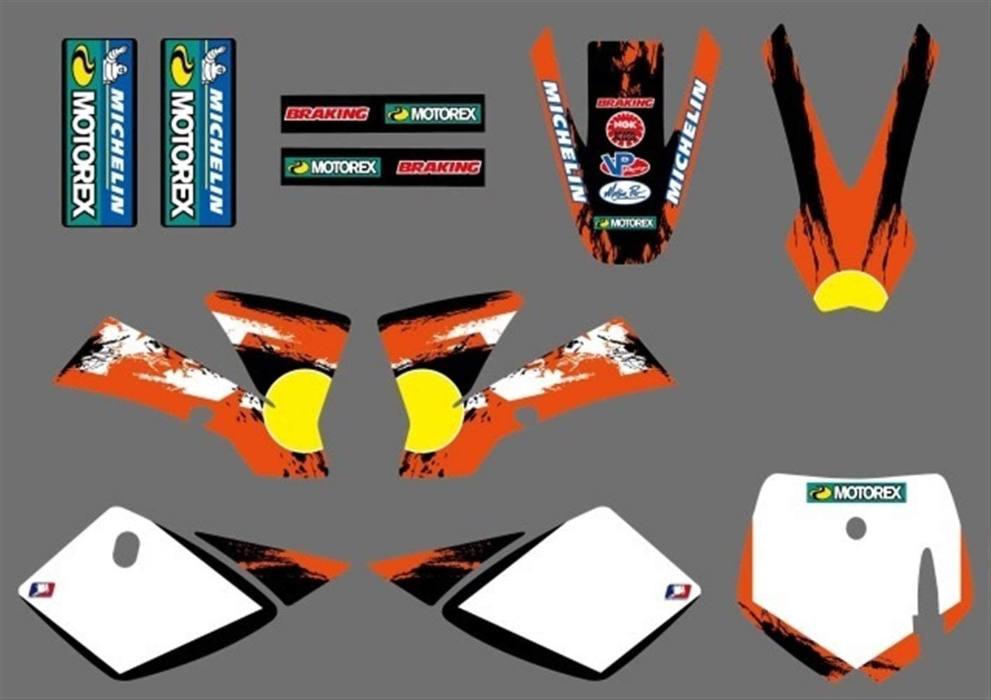 Color : Style1 Motocross /Équipe Moto Graphics Stickers Stickers Deco Set for KTM 50 SX SX50 50CC Mini Adventure MTK50 2002 2003 2004 2005 2006 2007 2008