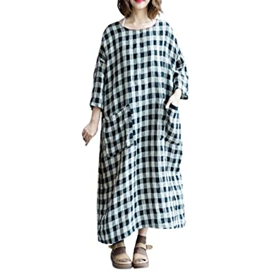 f9a64cee3dc7 2019 New Spring Plus Size Women Vintage Loose Plaid Cotton Long Maxi Dress  Casual Swing T-Shirt Dress Pockets at Amazon Women s Clothing store