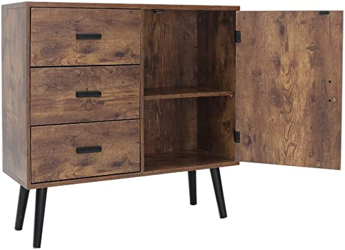 IWELL Mid-Century Storage Cabinet Bookcase with Doors, 1 Adjustable Shelves 3 Drawers, Bathroom Cabinet, Sideboard, Free Standing Cupboard, Entryway Cabinet, TV Console Stand, Rustic Brown SNG001F