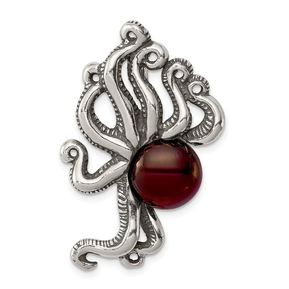 Beautiful Sterling silver 925 sterling Sterling Silver Antiqued /& Textured Octopus w//Red Stone Chain Slide