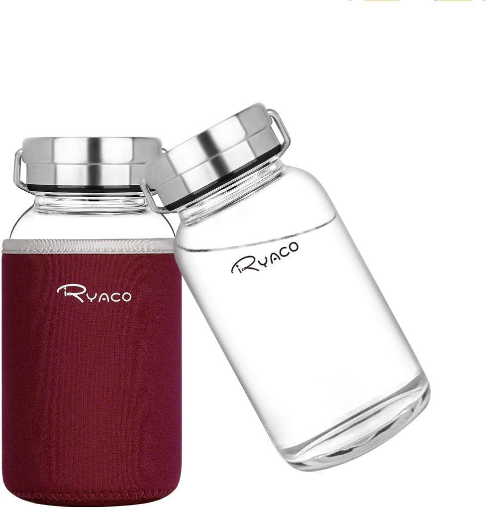 Ryaco Botella de Agua Cristal 800 ML, Boca Ancha Botella de Agua Reutilizable, Sin BPA Antideslizante Protección Neopreno Llevar Manga y Cepillo de Esponja