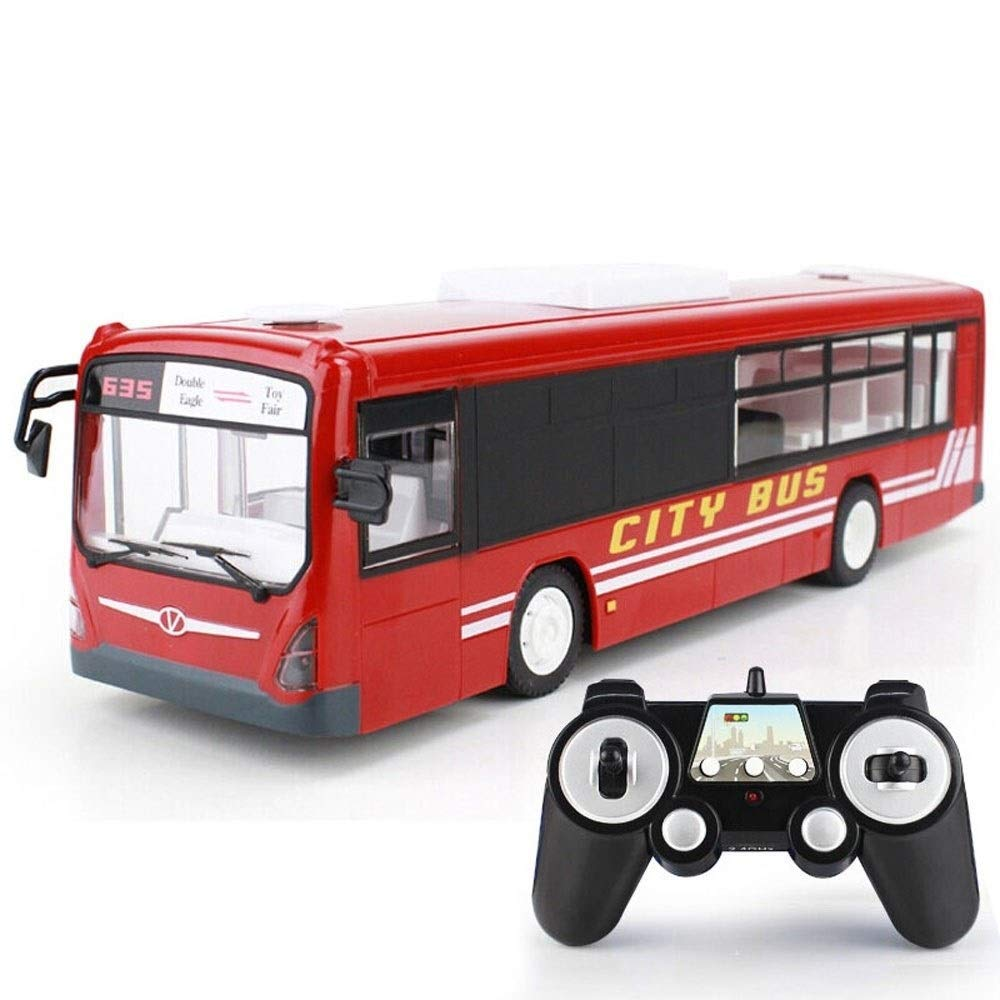 TBFEI Remote Control Bus Simulation School Model Charging Toy Car Enlightenment Gift for Kids Toy Bus Electric Charging Simulation Model Remote Control Car (Color : Red)