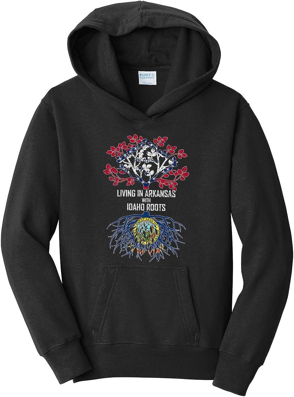 Tenacitee Girls Living in Arkansas with Idaho Roots Hooded Sweatshirt