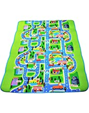 Kids Activity Creeping Play Mat, Baby Learning Decor Rug with Road Traffic, Infants Educational Car Carpet with City Town Map, Large and Thick for Floor Bedroom Playroom Safe Area Game