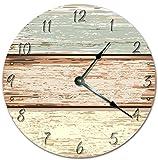 "horizontal wood fence EasySells 10.5"" Horizontal Wood Fence Cartoon Design Clock - Printed Clock - Large 10.5"" Wall Clock - Home Décor Clock"