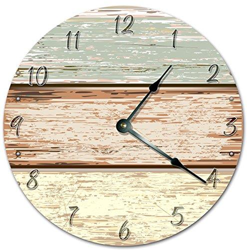 "EasySells 10.5"" Horizontal Wood Fence Cartoon Design Clock - Printed Clock - Large 10.5"" Wall Clock - Home Décor Clock"