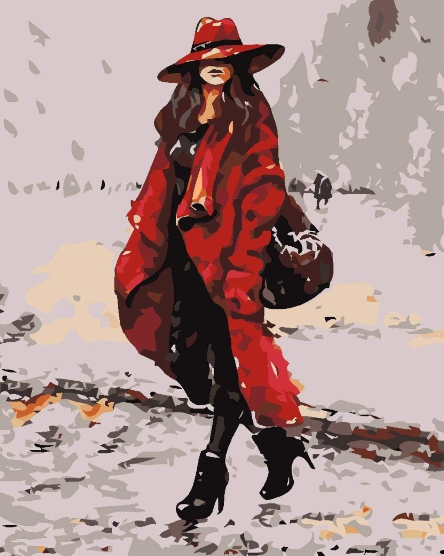 Diy Pintura Al Óleo Digital Mujer En Chaqueta Roja Digital Pintura Al Óleo Regalo Para Adultos Niños Pintura Por Numero Kits Decoración Del Hogar 40 * 50