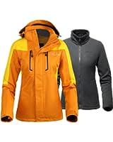 OutdoorMaster Womens' 3-in-1 Ski Jacket - Winter Jacket Set with Fleece Liner Jacket & Hooded Waterproof Shell - for Women