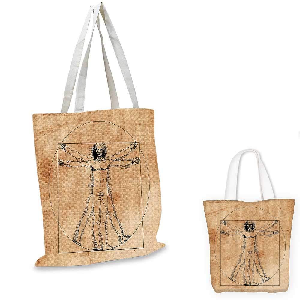 12x15-10 Human Anatomy canvas messenger bag Medieval Vitruvian Man Crosshatching Famous Italian Painting Renaissance Body Art canvas beach bag Sepia
