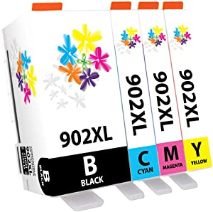 PureColor Compatible Ink Cartridge Replacement for HP 902XL 902 XL to use with OfficeJet Pro 6954 6958 6978 6968 6975 Printers (1 Black, 1 Cyan, 1 Magenta, 1 Yellow, 4 Pack) (PCHP902XL-4P)