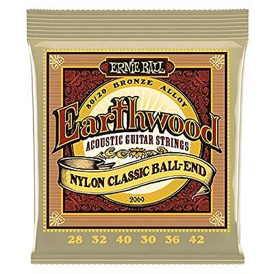 Ernie Ball. Earthwood Folk Nylon Ball End Set, Clear and Gold