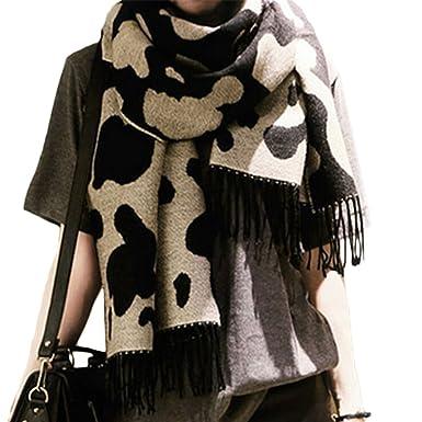 65aaaece345e DaoRier Foulard léopard Noir et Blanc écharpe Femme écharpe Hiver Longue  comme Accessoire Parfait Elégant Etoles