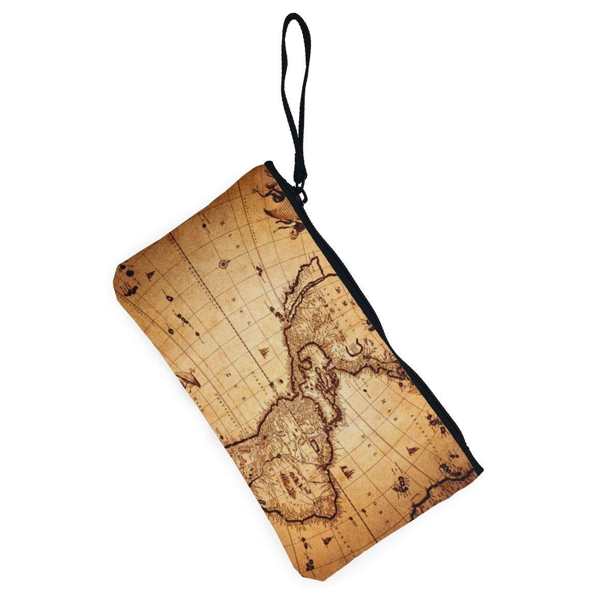 YUANSHAN Retro World Map Unisex Canvas Coin Purse Change Cash Bag Zipper Small Purse Wallets with Handle