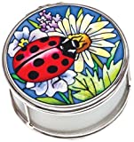 Amia Petite Circle Jewelry Box Hand-Painted on Glass, Ladybug Design, 2 by 1-1/4 by 2-Inch