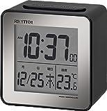 リズム時計 目覚まし時計 電波 デジタル 小さい かわいい フィットウェーブD158 小型 ミニ キューブ 黒 RHYTHM 8RZ158SR02