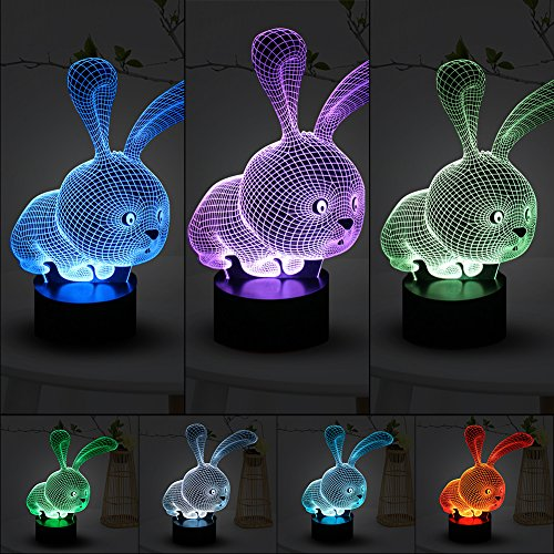 Junda 3D Rabbit Night Light, LED Night Lamp, 7 Color Switch Table Desk Night Light for Kids Bedroom Nursery Decor Christmas Gifts, USB Rechargeable Review