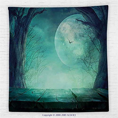 59 x 59 Inches Halloween Decorations Fleece Throw Blanket Spooky Forest Full Moon and Vain Branches Mystical Haunted Horror Theme Rustic Decor Blanket