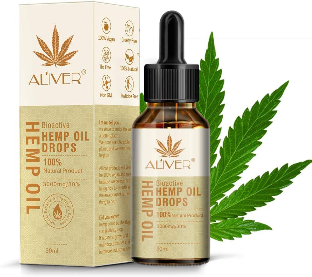 Aceite Bio-activo HEMP - 30% (3000 mg)- Gota de Aceite de Cáñamo para el Alivio de la Ansiedad Ayuda al Sueño Reducir el Estrés Vegan Friendly