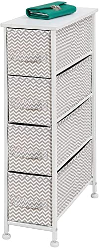 mDesign Narrow Vertical Dresser Storage Tower - Sturdy Metal Frame, Wood Top, Easy Pull Fabric Bins - Organizer Unit for Bedroom, Hallway, Entryway, Closet - Chevron Print, 4 Drawers - Taupe White