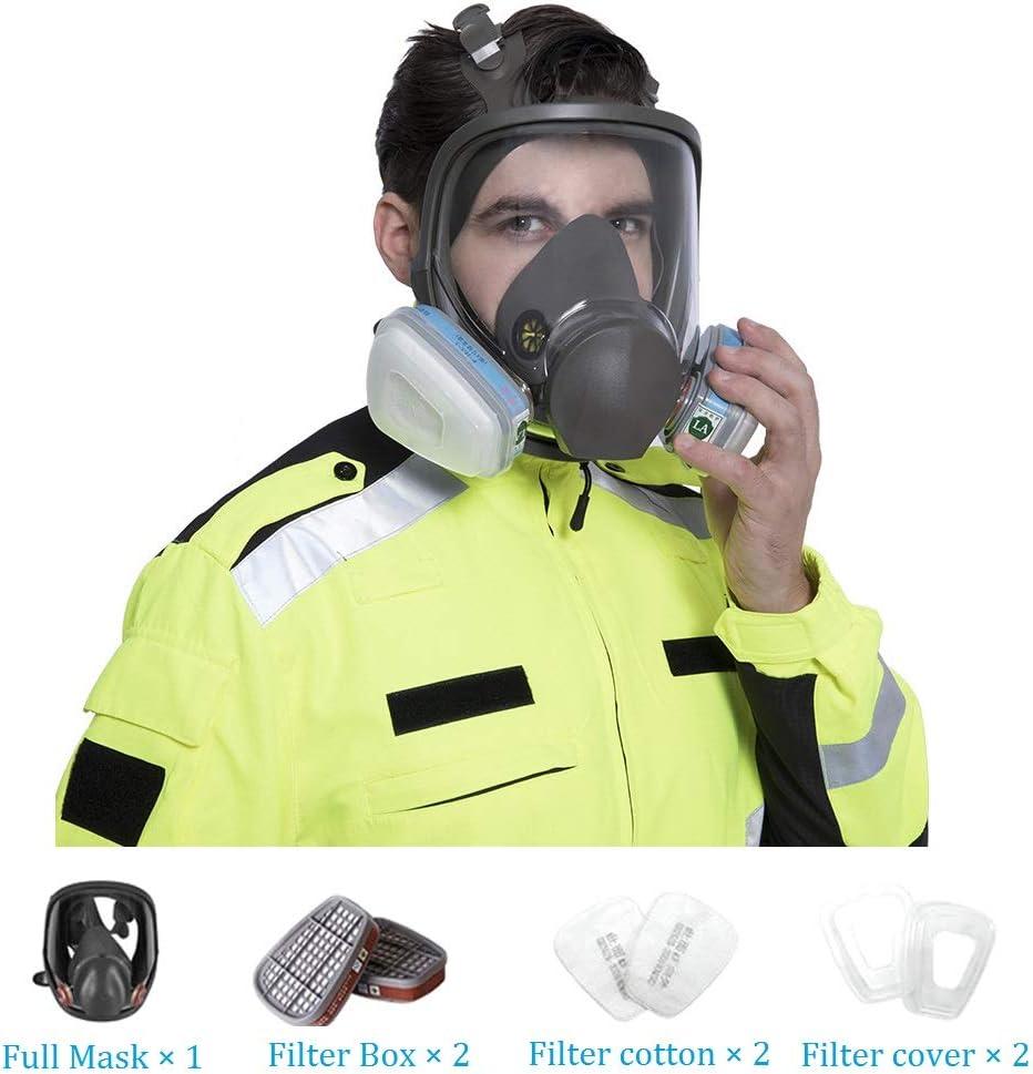 XIAOCUI Máscara Antigas, Máscara De Gas Cara Completa Pintura En Aerosol Equipo Químico De Protección Laboral Equipo De Bombero