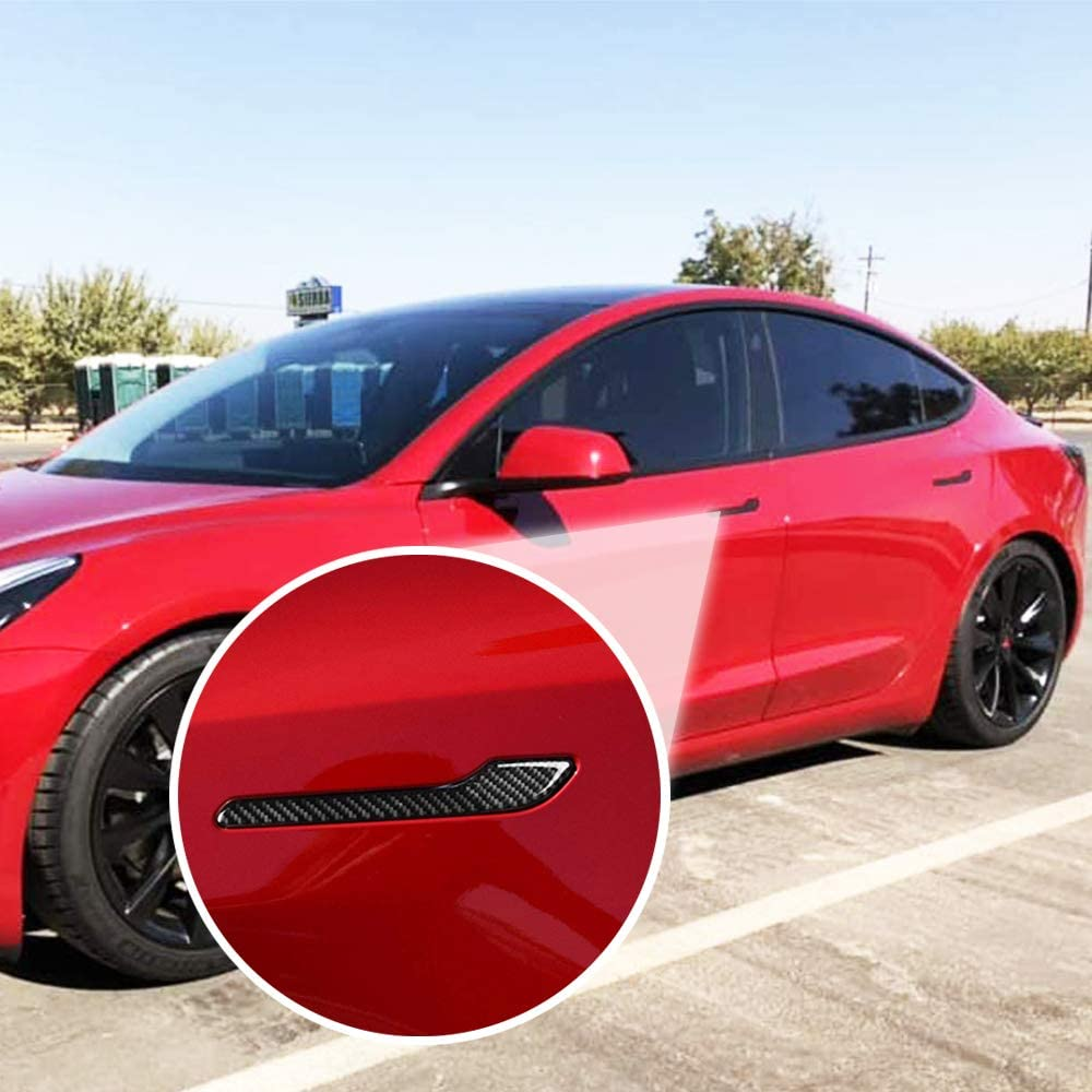 4 Pieces - Black No Tesla Word CoolKo Newest and Improved Car Door Handle Sills Protection Kit Real Carbon Fiber for Tesla Model S