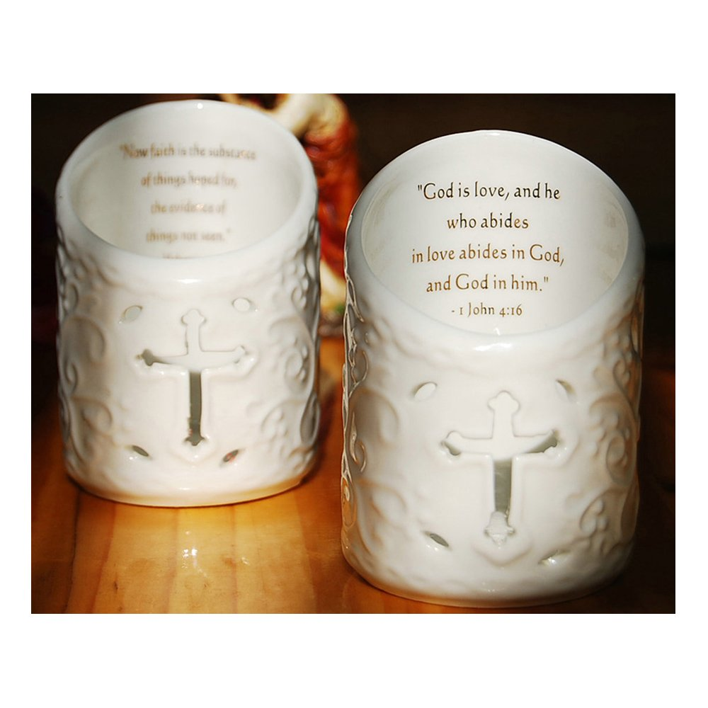 Cosy-YcY Ceramic Candle Holder, Set Of 2 Ceramic Christian Cross Tea Light Holder, Christmas Ornament With Bible Verses, Can Be Used As Pen Holder