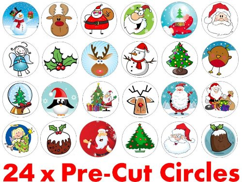 24 x 38mm Pre Cut Father Christmas Mixed (24) Santa Claus Xmas Festive Fairy Muffin Cup Cake Toppers Decoration Edible Rice Wafer Paper Harold's Bakeware