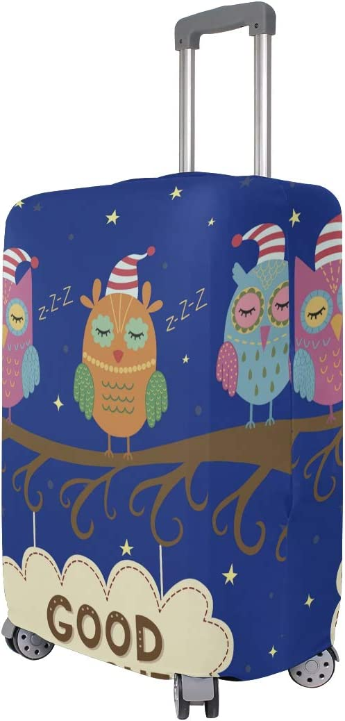 FOLPPLY Chirstmas Cap Owl With Moon Luggage Cover Baggage Suitcase Travel Protector Fit for 18-32 Inch