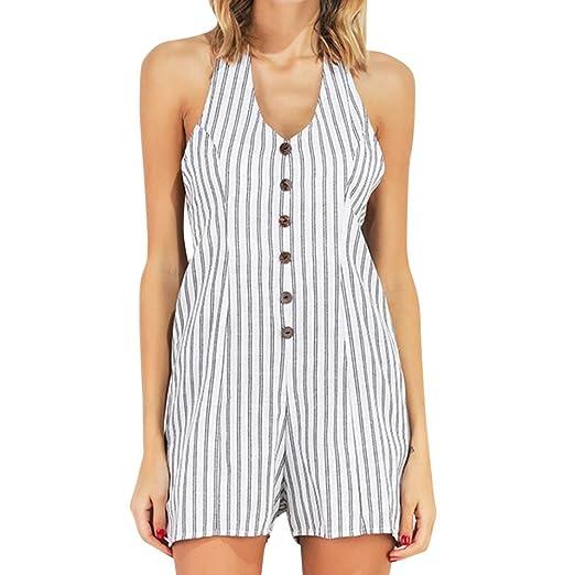28e250c03049 Amazon.com: Longay Women V Neck Halter Striped Romper Jumpsuit Mini Short  Dress: Clothing
