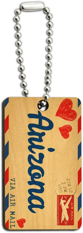 Graphics and More Air Mail Postcard Love for Arizona Wood Wooden Rectangle Key Chain