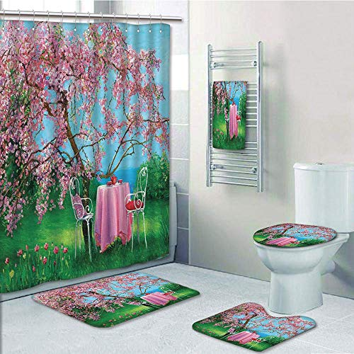 (Bathroom 5 Piece Set shower curtain 3d print Multi Style,Rustic,Tea Time Theme Vintage Chairs Plum Tree Spring Garden Painting,Light Blue Green and Light Pink,Bath Mat,Bathroom Carpet Rug,Non-Slip,Bat)