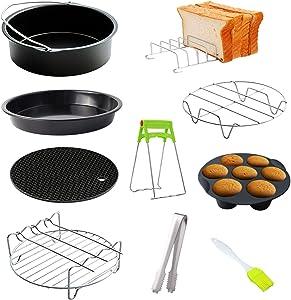 Fesjoy Air Fryer Accessory Kit, 10Pcs Air Fryer Accessory Kit Frying Baking Pan Rack Pizza Tray Pot Metal Holder Bread Bracket Cupcake Mould Set for 3.2QT-5.8QT Air Fryer