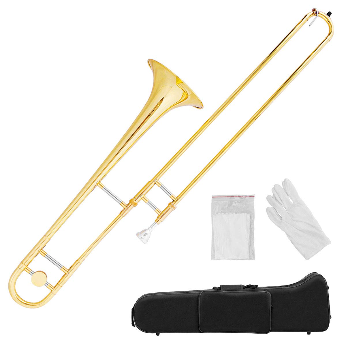 Costzon B Flat Tenor Slide Trombone Gold Brass, Sound for Standard Student Beginner Trombone w/Case, Gloves, Mouthpiece, Portable