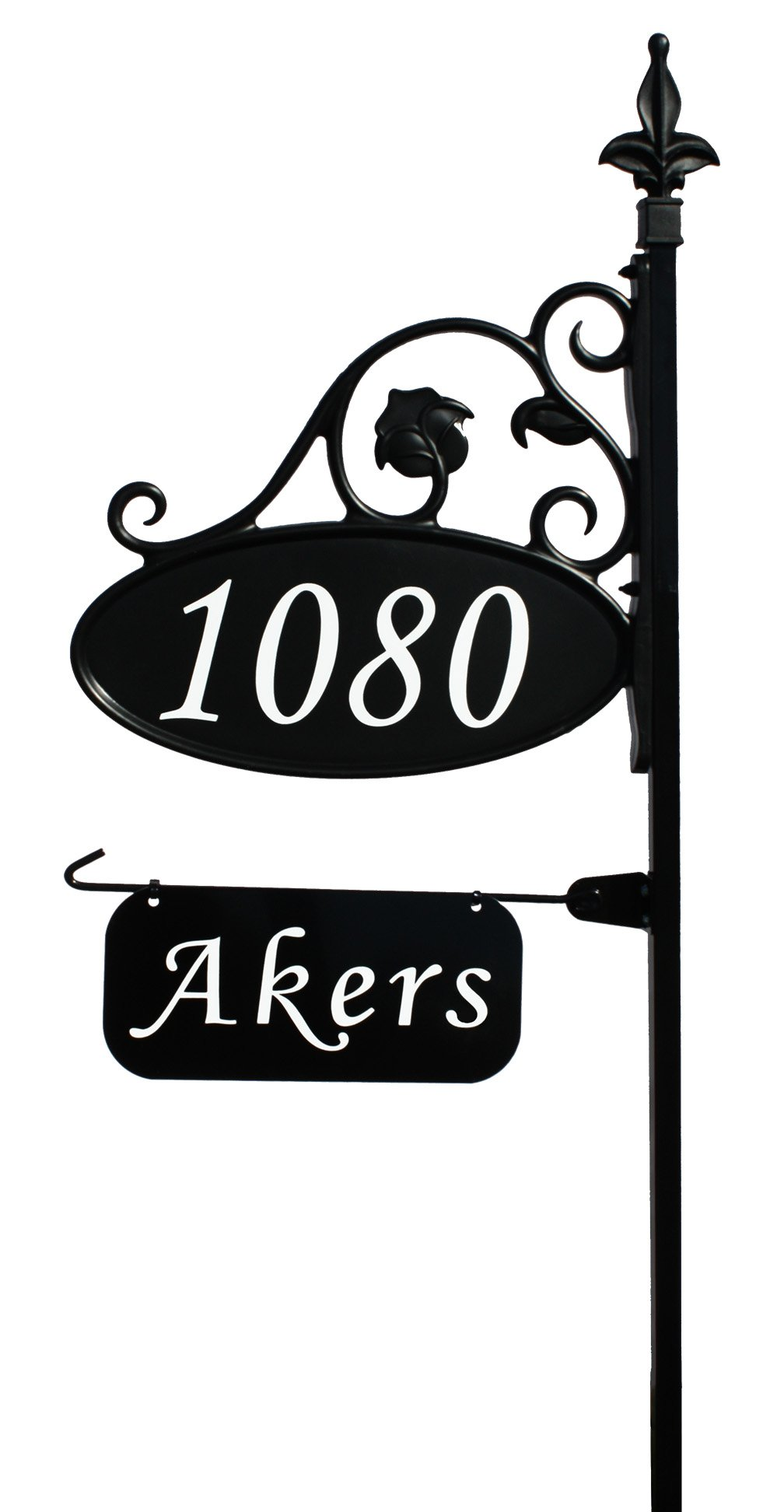 Address America Park Place Oval Reflective 911 Home Address Sign for Yard with Name Rider on Garden Flag Post - Custom Made Address Plaque with Name - Wrought Iron Look Exclusively By (48'' Post)