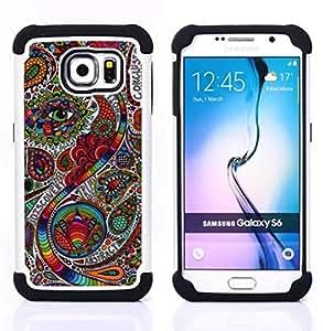 "Pulsar ( Boteh Modelo Modelo India floral"" ) Samsung Galaxy S6 / SM-G920 SM-G920 híbrida Heavy Duty Impact pesado deber de protección a los choques caso Carcasa de parachoques [Ne"