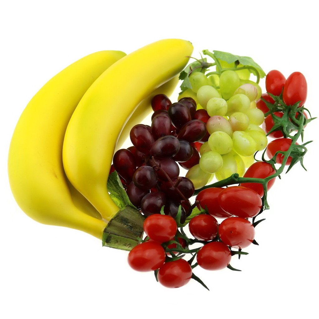 Gresorth Artificial Mixed Fruit Decoration Set of Banana Cherry Grape Bunches - Realistic by Gresorth