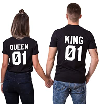 1d044049 King Queen T-Shirts Matching Couples Shirts Set Cotton for Husband Wife His  and Her Double Tees Funny 2 Pieces: Amazon.co.uk: Clothing
