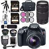 Canon EOS Rebel T6 DSLR Camera with 18-55mm Lens + Canon EF 75-300mm Lens + 58mm Wide Angle Lens + 58mm 2x Lens + Canon 100ES EOS Shoulder Bag Bundle
