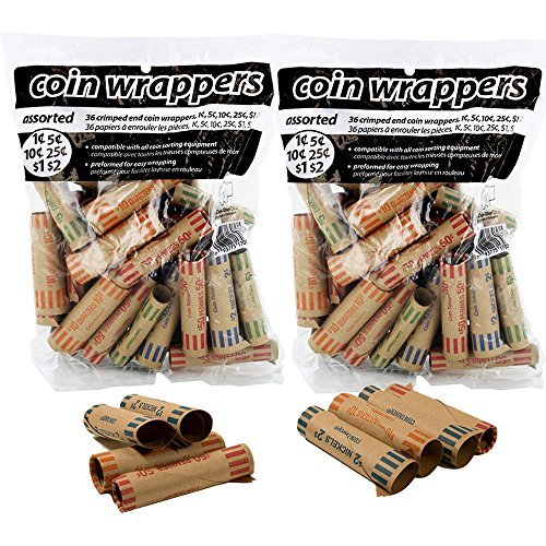 - ATB 72 pcs Preformed Coin Tubes Paper Coin Wrapper Shotgun Roll, Assorted - Quarter, Dime, Nickel, Penny