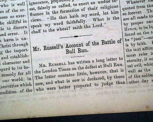 re. BATTLE OF BULL RUN London England's Opinion 1861 Civil War Era Newspaper WESTERN CHRISTIAN ADVOCATE, Cincinnati, Ohio, Aug. 28, 1861