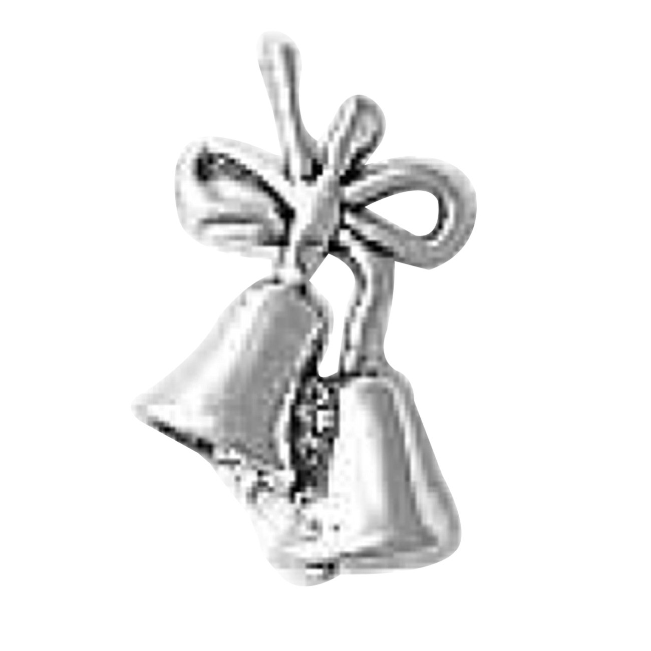Sterling Silver 7 4.5mm Charm Bracelet With Attached 3D Bow With Christmas Or Wedding Bells Charm