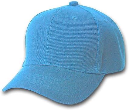 SKY BLUE BASEBALL CAP HAT CAPS PLAIN ADJUSTABLE VEL