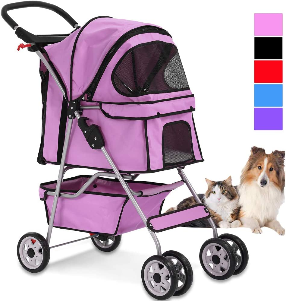 4 Wheels Pet Stroller Cat Dog Cage Stroller Travel Folding Carrier with Cup Holders and Removable Liner for Small-Medium Dog, Cat 61ascNx35yL